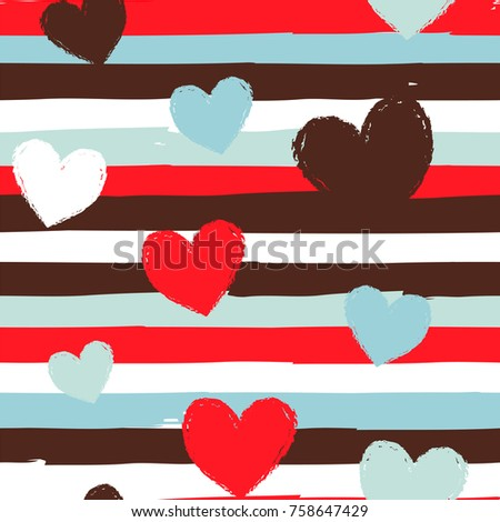 Seamless vector pattern with stripes and hearts in white, red, blue and brown colors.