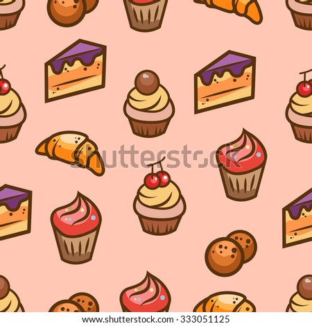 Seamless vector pattern with sweets and pastries. - stock vector