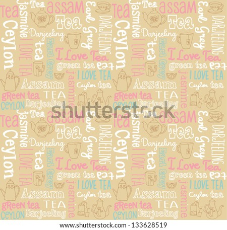Seamless vector pattern with tea words & icons - stock vector