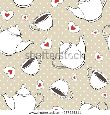 seamless vector pattern with teapots, cups and cookies - stock vector