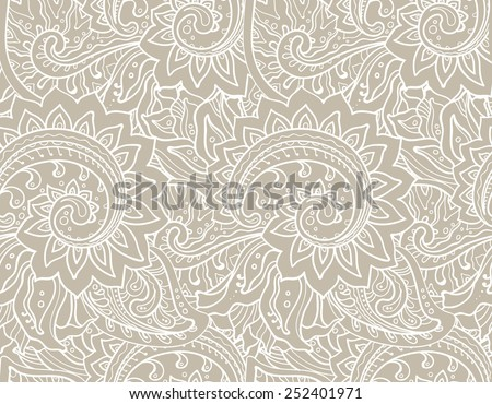 Seamless vector pattern with traditional oriental floral ornament with a lot of details  - stock vector