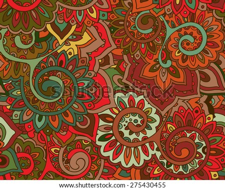 Seamless vector pattern with traditional oriental floral ornament with a lot of details