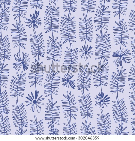 Seamless vector pattern with vectorized hand drawn flowers and leaves - stock vector