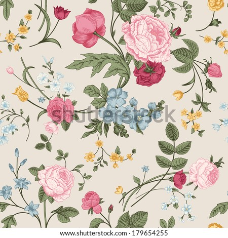 Seamless vector pattern with Victorian bouquet of colorful flowers on a gray background. Pink roses, tulips, blue delphinium. - stock vector