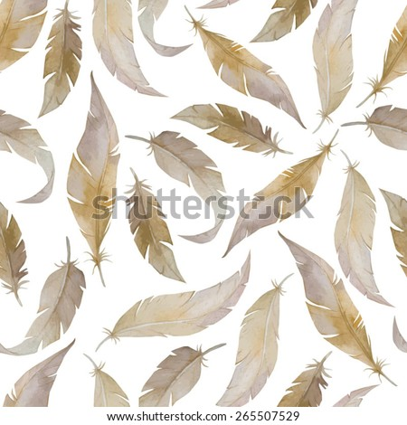 Seamless vector pattern with watercolor feathers. Decorative elements with plumes. Hand drawn background. - stock vector
