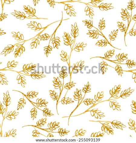 Seamless vector pattern with watercolor golden floral elements on white background. Hand drawn ornament with herbs. Perfect for greetings, invitations, manufacture wrapping paper, textile, web design. - stock vector