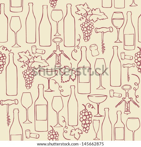 Seamless vector pattern with wine bottles glasses & grapes - stock vector