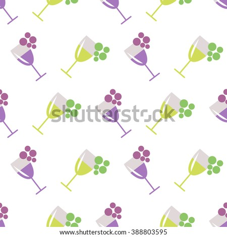 Seamless vector pattern with wineglasses with red and white wine, and bunches of grape on the grey background. Series of Food and Drink Seamless Patterns. - stock vector