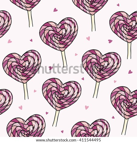 Seamless vector pattern with yummy sweet lollipops. Colorful candy with hearts.  - stock vector