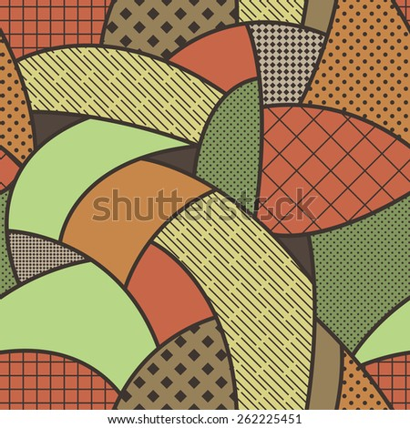 Seamless vector patterned background of curved lines - stock vector