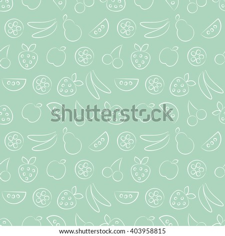stock vector seamless vector patterns with fruits pastel green background with strawberry banana apple pear 403958815 - Каталог — Фотообои «Еда, фрукты, для кухни»