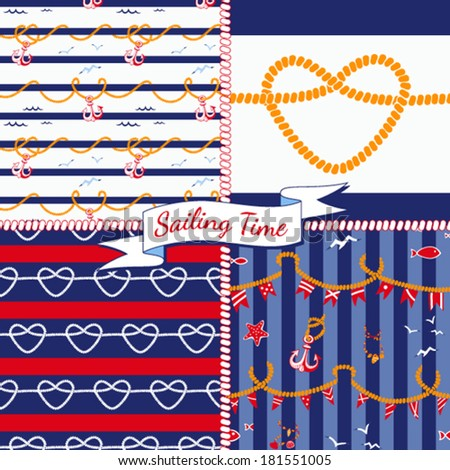 Seamless vector patterns with nautical elements. - stock vector