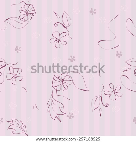 Seamless vector pink floral pattern. - stock vector