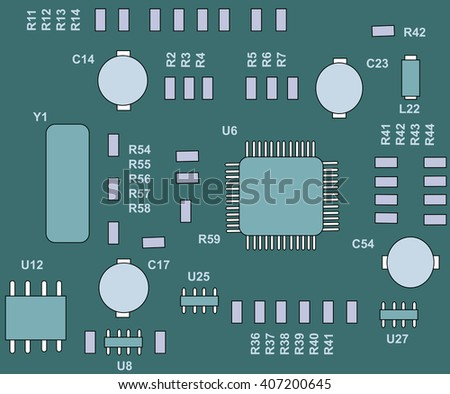 Seamless vector printed circuit board with electronic components. Computer and networking communication technology concept. - stock vector