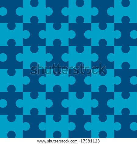 Seamless Vector Puzzle Pattern - Blue version