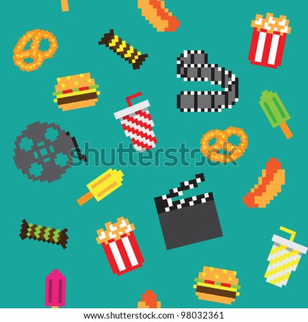 seamless vector retro pixel game movies pattern - stock vector