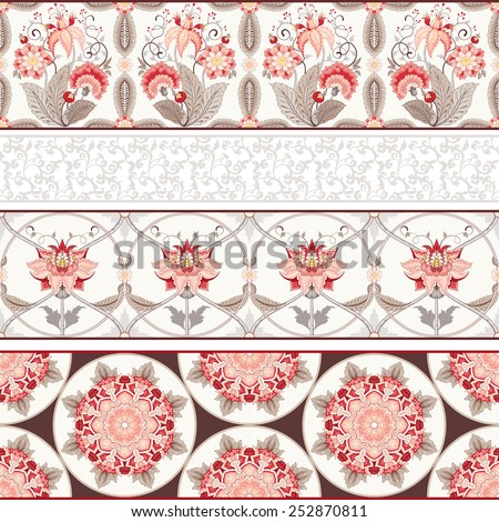 Seamless vector set of four horizontal borders. The motives of the paintings of ancient Indian fabrics. Tree of Life collection. - stock vector