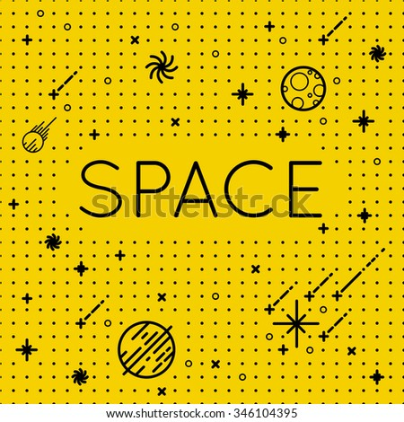 "Seamless vector space pattern. Science Illustration with stars and planets. Use for prints, web, posters, invitations. With inscription ""Space"". - stock vector"