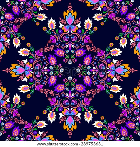 seamless vector spanish mexican tile pattern. Floral ornaments in dark diagonal dramatic layout. mirror composition, very decorative and embellished. for fashion or interior.  - stock vector