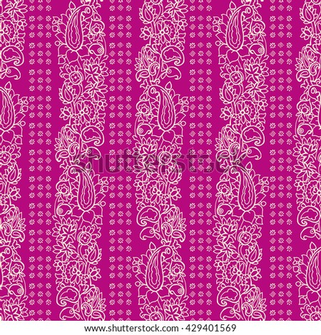 Seamless vector striped paisley pattern. Ethnic floral motif with stripes of flowers and blocks, primitive oriental elements, ecru on fuchsia background. - stock vector