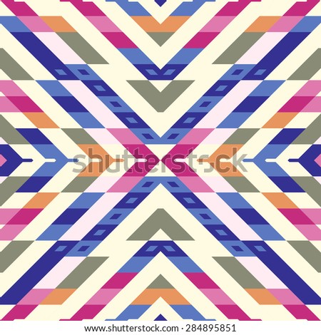 Seamless Vector Stripes Pattern for Textile Design. Stylish Modern Art. Psychedelic Mix of Rhombuses - stock vector