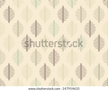 Seamless vector stylized leaf pattern background - stock vector