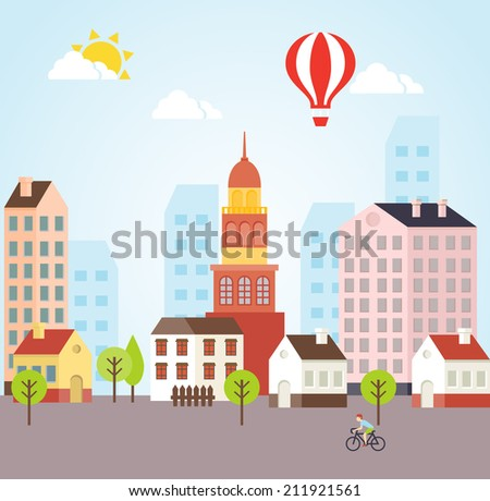 Seamless Vector Sunny Town Landscape Background For Cards and Other Graphic Designs - stock vector