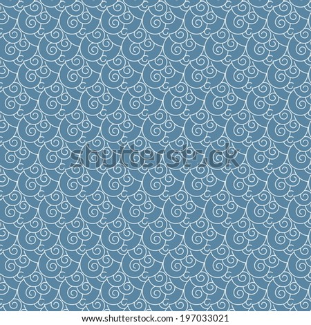 seamless vector swirl white and blue wave Japanese pattern background - stock vector