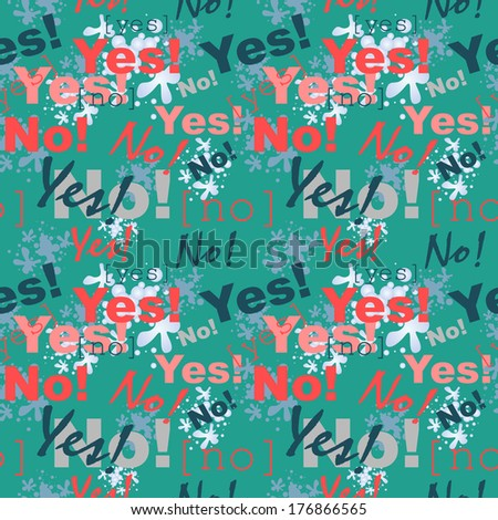 """Seamless vector texture in grunge style. """"YES"""" and """"NO"""" pattern. - stock vector"""