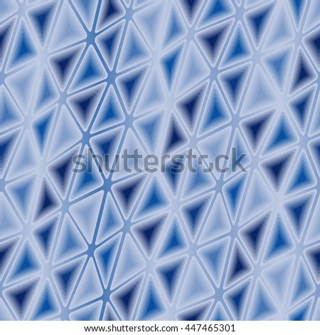 Seamless vector texture with blue triangle tiles - stock vector