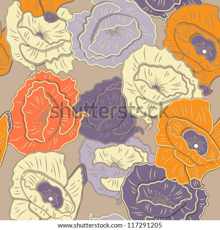 SEamless vector texture with bright flowers