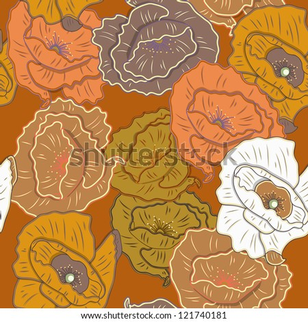 Seamless vector texture with drawing flowers