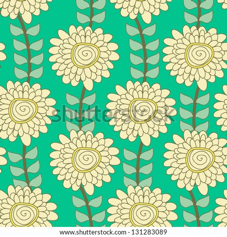 Seamless vector texture with drawing flowers - stock vector