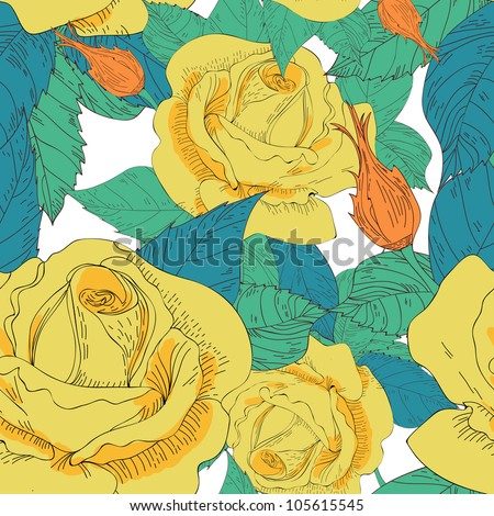 Seamless vector texture with drawing roses - stock vector
