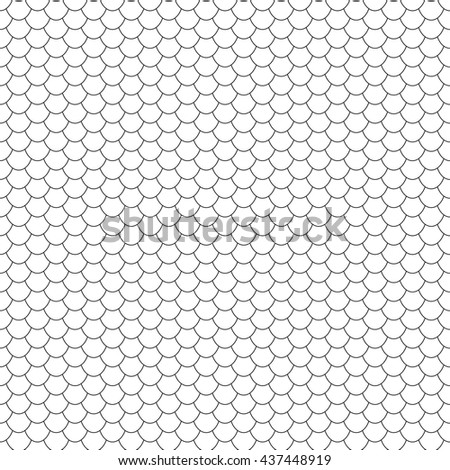 Seamless vector texture with fish or  reptile scales. Black and white vector graphic. Small seamless pattern. Linear background. - stock vector
