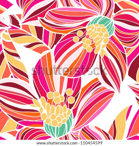 Seamless vector texture with flowers - stock vector