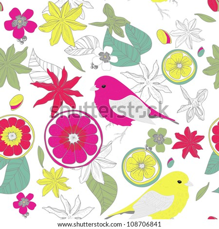 Seamless vector texture with lime and birds - stock vector