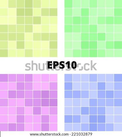 Seamless vector tiles bathroom floor and wall pattern background texture. Colorful tiles mosaic: olive, yellow, green, purple, blue, pink. EPS10 - stock vector