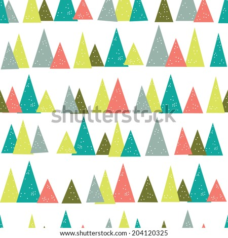 Seamless Vector Triangle Pine Tree Pattern - stock vector