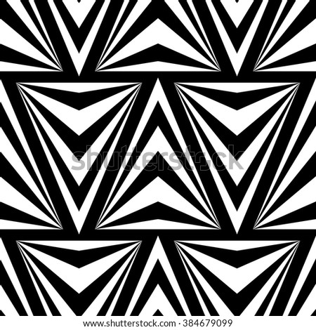 Seamless Vector Triangles Pattern for Textile Design. Modern Black and White Striped Pattern.  - stock vector