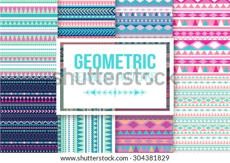 Seamless vector tribal texture set. Vector stripes pattern. Tribal seamless texture. Vintage ethnic seamless backdrop