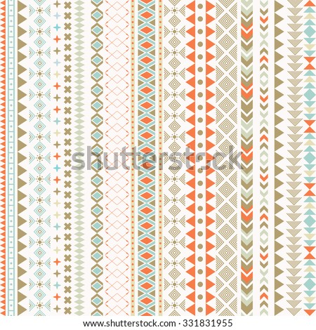 Seamless vector tribal texture. Tribal seamless texture. Vintage ethnic seamless backdrop. Boho stripes. Striped vintage boho fashion style pattern background with tribal shape elements. - stock vector