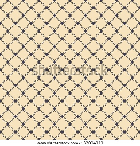 Seamless vector vintage curl grid background pattern - stock vector