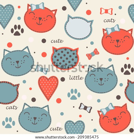 Seamless vector vintage pattern with blue and red cute little cat faces - stock vector