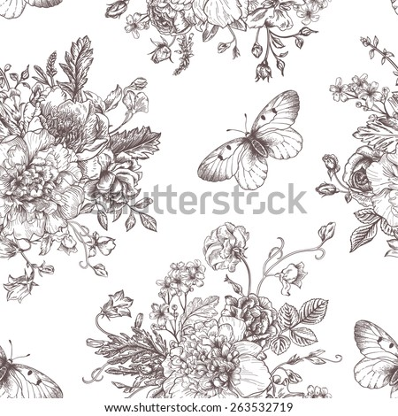 Seamless vector vintage pattern with bouquet of black flowers on a white background. Peonies, roses, sweet peas, bell. Monochrome. - stock vector