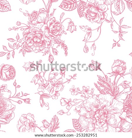 Seamless vector vintage pattern with bouquet of pink flowers on a white background. Peonies, roses, sweet peas, bell.  Monochrome. - stock vector