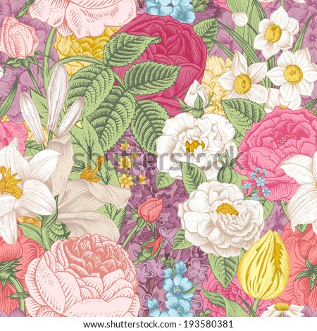 Seamless vector vintage pattern with garden colorful flowers. Roses, tulips, delphinium, lilac, daffodil, lily. - stock vector