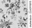 Seamless vector vintage pattern with Victorian bouquet of black flowers on a white background. Garden roses, tulips, delphinium, petunia, anemone. Monochrome. Lace. - stock vector