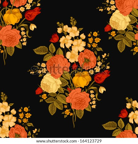 Seamless vector vintage pattern with Victorian bouquet of colorful flowers on a black background. Coral roses, red tulips, yellow delphinium with green leaves. - stock vector
