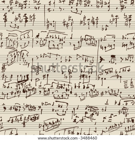 Seamless vector wallpaper. Music notes manuscript - stock vector